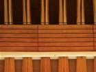 A detail of the wooden fins inside Koerner Hall.