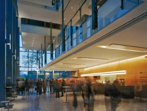 The multi-level lobby space exudes both a sense of grandeur and intimacy with an appropriate scale and level of detail.