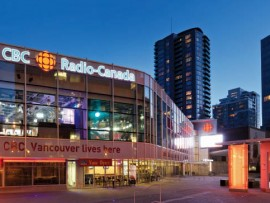 The fully glazed, low-rise profile of the CBC British Columbia Headquarters achieves the broadcasting institution's mandate of welcoming the public back into its facility.