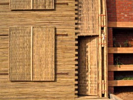 Bamboo is the primary construction material used in the LIFT House, whose central brick core collects and filters rainwater for use throughout the year.