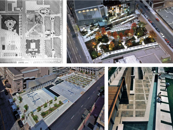 Clockwise from top left The evolution of Baird Sampson Neuert Architects' nuanced approach to public space can be seen in three of their projects--Trinity Square Park Competition in Toronto (Unbuilt,1983) Photo: Michael Awad; two images of Cloud Gardens Park in Toronto (1994) Photo: Steven Evans; and Old Post Office Plaza in St. Louis (2008) Photo: Sam Fenetress.