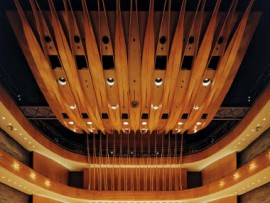 The undulating ribbon-like ceiling of Koerner Hall enhances the acoustics.