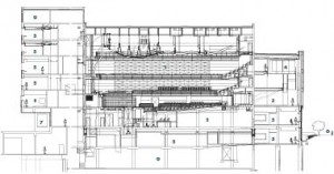 East-West Section1 Koerner Hall 2 libraryl 3 lobbyl 4 VIP rooml 5 studiol 6 Philosopher's Walk 7 back of housel 8 classrooml 9 mechanical