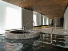 Clients who enter the hydrojet bath experience the dissolution of the floor plane, and the gently sloping wood ceiling above enhances the sensation.