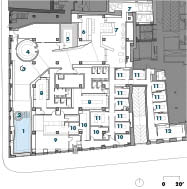 Reception Plan1 hydrojet bath 2 cold basin 3 cold shower 4 steam bath 5 sauna 6 juice bar 7 relaxation area 8 dressing room 9 reception 10 office space 11 massage room 12 employees' room
