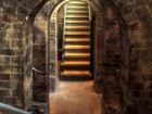 Original brick archways once supported vats of spirits above.