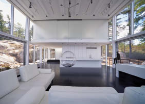 The minimally appointed interior is further enhanced by a dark polished floor.