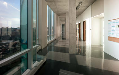 The corridor of the new school commands a spectacular view of surrounding Kitchener.