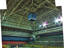 This photograph of Maple Leaf Gardens was taken just prior to the demolition of its interiors. The historic landmark will eventually accommodate a Loblaws supermarket and an athletic and recreational facility for Ryerson University.