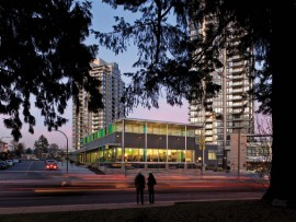 The new Tommy Douglas Library in Burnaby provides colourful relief to the surrounding suburban context.