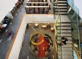 North Vancouver City Library: looking down to the children's reading section.