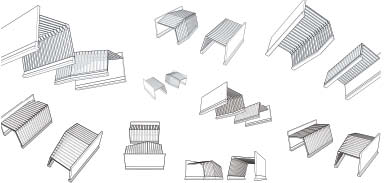 Axonometric drawings illustrate a sense of play between the two volumes.