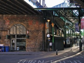 Bedale Street underneath the existing rail viaducts running through Borough Market. The Victorian ironwork in the background was restored at the turn of the millennium.