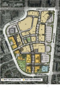 Site Plan-Urban Design Principles and Phasing 1 town square 2 fountain 3 main street 4 festival street 5 urban parkette  6 promenade connector  7 parking structure  8 commercial/retail  9 retail/office 10 future mixed-use residential 11 future public park 12 existing post office 13 future community centre