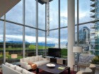 Inside the Chairman's Suite, lucky guests can enjoy dramatic views of the harbour and the newly completed Vancouver Convention Centre addition.