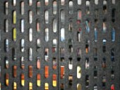 A closeup view of the perforated felt and polycarbonate panels used in Diller Scofidio + Renfro's studio in New York.