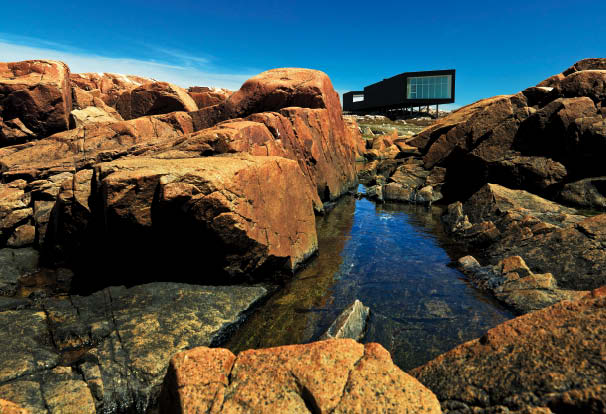 The sharp angularity of the studio's dark carapace is a wonderful contrast--and complement--to the rugged landscape.