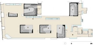 Ground Floor1 faade & entry 2 Box 1 3 Box 2 4 Box 3 5 cash desk 6 women's changing rooms 7 Box 4--private changing room 8 Box 5--menswear