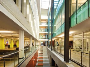 The atrium rises over five storeys, and serves as a focal point, plan generator and unifier.