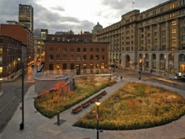 An overall view of Square des Frres-Charon hints at the richly historic context of Old Montreal.