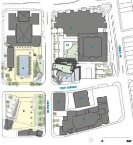 Site Plan    1 Art Gallery of Alberta   2 rooftop sculpture terrace   3 City Hall   4 City Hall outdoor forecourt   5 City hall tower   6 sculpture lawn   7 LRT entrance   8 Sir Winston Churchill Square   9 Law Courts building 10 Law Courts outdoor courtyard 11 Chancery Hall 12 Century Place 13 Winspear Centre for Performing Arts