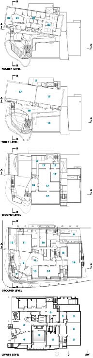 Floor Plans   1 LRT station   2 theatre   3 multipurpose theatre   4 art rental   5 education spaces/classrooms   6 art handling/storage   7 main entry vestibule   8 main lobby   9 reception desk 10 gift shop 11 gallery great hall 12 gallery caf 13 special collection gallery 14 Ernest J Poole gallery 15 children's gallery 16 catering kitchen 17 flexible gallery 18 sculpture gallery event space 19 rooftop sculpture garden 20 offices 21 boardroom 22 outdoor sculpture garden 23 conference room