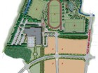 Site Plan  1 Bill Crothers Secondary School 2 field house 3 parking 4 soccer field 5 artificial turf soccer field with running track 6 soccer/rugby field 7 future development
