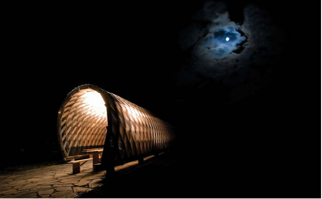 Dalhousie University architecture students used CNC technology to design this shelter which glows beneath a moonlit sky.