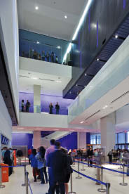 People queue for tickets in the three-storey atrium of the Lightbox. Tom Arban
