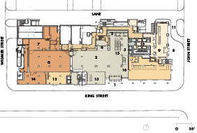 Ground Floor and Site Plan    1 main entry   2 lobby   3 TIFF elevator lobby   4 box office   5 coat check   6 gallery   7 staging prep   8 condo entry   9 condy lobby 10 condo elevator lobby 11 condo drop-off 12 gift shop 13 TIFF swing space 14 SW frontage 15 escalators 16 main floor staircase