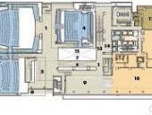 Second Floor    1 lobby   2 theatre 1   3 theatre 2   4 theatre 3   5 concession   6 terrace   7 atrium   8 bridge   9 Blackberry lounge 10 Luma 11 green room 12 screen wall 13 escalators 14 elevators
