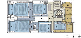 Third Floor    1 lobby   2 theatre 4   3 theatre 5   4 projection room   5 theatre below   6 atrium   7 link   8 learning studio A   9 learning studio B 10 learning studio C 11 members' lounge 12 master control 13 elevators