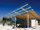 The glass, wood and steel canopy at the Oakridge-41st station utilizes a similar expression to many other stations on the new LRT system. Bob Matheson