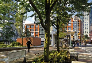 The entrance to the Yaletown station is successful in achieving an understated presence in this busy area of the city. Ed White