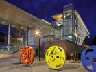 Public art graces the plaza in front of the Marine Drive Station. Ed White