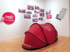 An installation photo of The Pivot Legal Society's Red Tent Campaign, an event that involved handing out red tents to street people in the hope of attracting attention to the problem of homelessness in Vancouver during the 2010 Olympics. Most importantly, it sought to convince federal authorities to establish a national housing strategy. Rachel Topham
