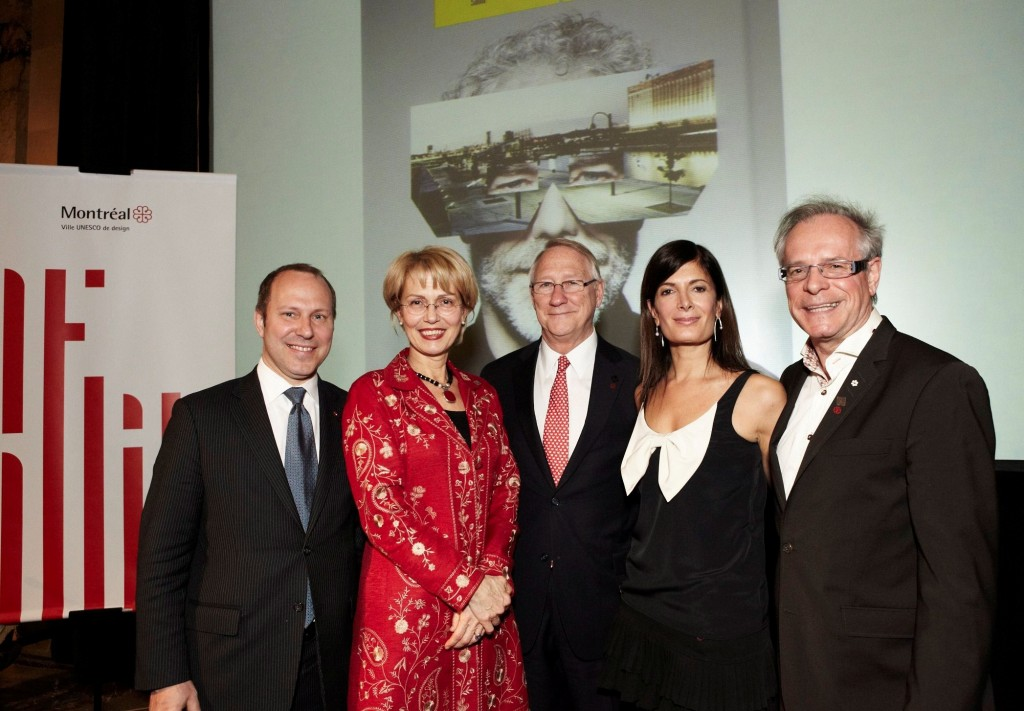 Left to right : Michel Leblanc, President and CEO of the Board of Trade of Metropolitan Montreal; Helen Fotopulos, Culture, Heritage, Design and the Status of Women of the Executive Committee at the Ville de Montral; Grald Tremblay, Mayor of Montreal; Anne-Marie Cadieux, actress and spokesperson for the annual Design Montreal Open House; and Simon Brault, President of Culture Montreal.