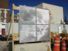 A mock-up of the patterned metal screen for SAIT. Courtesy Bing Thom architects