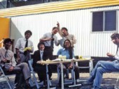 An early image of Thom (second from left) taking a break with his colleagues on a job site. Courtesy Bing Thom Architects