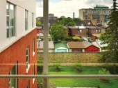 A view of the neighbourhood context surrounding the Centre for Addiction and Mental Health (CAMH) Phase 1A, in joint venture with KPMB and KMA Architects. Tom Arban