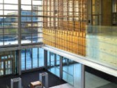 The central lobby maintains wide open views to downtown Oshawa. Shai Gil