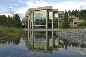 For many years, the vision of a reflecting pool behind the Museum of Anthropology remained unrealized, until recently. Courtesy Cheryl Cooper