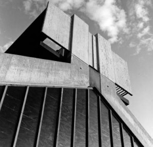 A striking concrete sculptural expression defines this extraordinary industrial building on the University of Regina campus. Henry Kalen Fonds