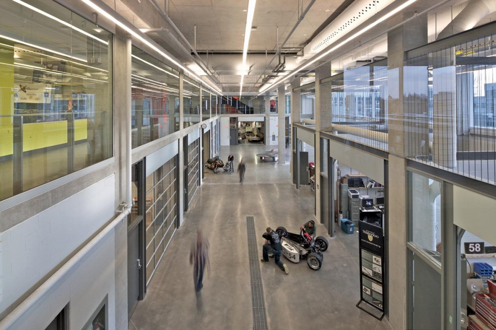 The interior of the new academic building allows for maximum programmatic flexibility and student  interaction