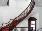 Architect Kevin Weiss was inspired by this 19th-century curved stair at Regis College.