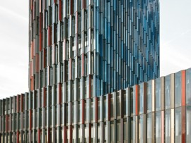 Already a remarkable building with respect to its performance, the KFW Westarkade in Frankfurt transfixes with seductively rhythmic bands of colour and glazing.