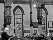 """Kenneth Frampton delivers his """"sermon"""" to a capacity crowd."""