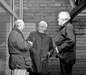 """The """"three elders"""" of the conference-Glenn Murcutt, Kenneth Frampton and Juhani Pallasmaa-share a laugh together."""