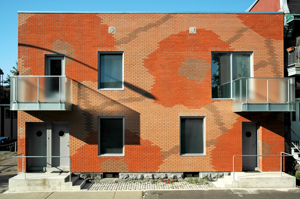 Vladimir Topouzanov first attempted to design patterned faades using different colours of masonry on his own flower garden-inspired residence in St-Henri.