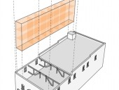 Concept drawings indicating the existing building with new insertions-a clerestory roof was added and amenity spaces are highlighted in orange.